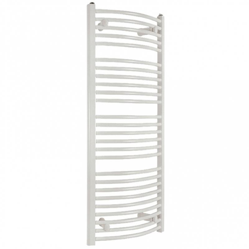 Kúpeľňový radiátor SOLID 600 x 1340 mm, biely, oblý, rebríkový radiátor, 600x1340 curved