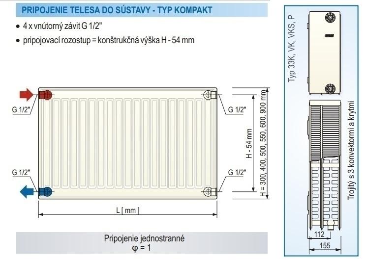 Panelový radiátor KORAD 33K 900 x 1000 Kompakt, 3349102013