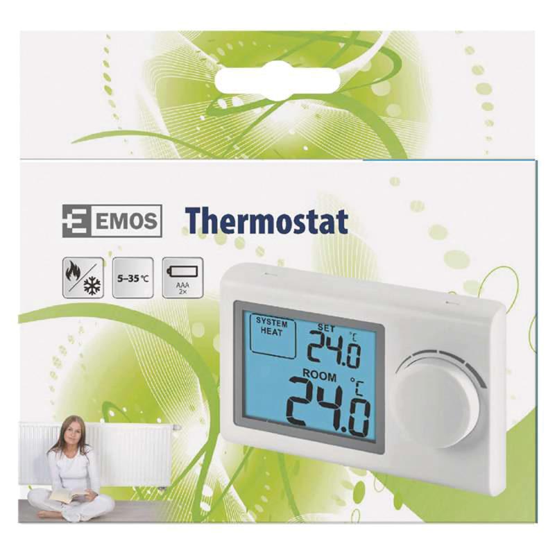 Izbový termostat EMOS drôtový P5604, manuálne ovládanie