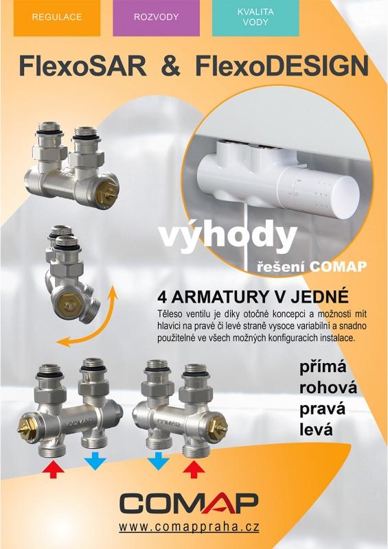 Termostatický ventil FLEXO-B Set pre stredové pripojenie 1/2-3/4 biela, L234006001